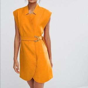 C/Meo Collective Belted Mini Shirt Dress Tangerine